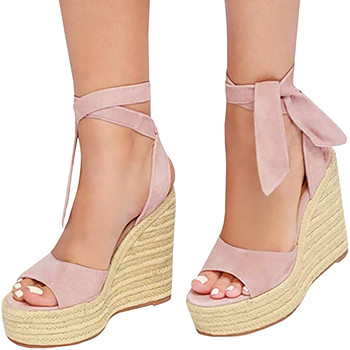 SAGACE Womens Fashion Open Toe Wedges Sexy High Quality Outsid Ladies Shoes Thick Bottom Lace-Up Beach Shoes Roman Sandals 1