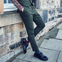 53% Wool Brand Men Clothing 2018 high quality mens casual suit pants trousers slim green wedding groom business office pants