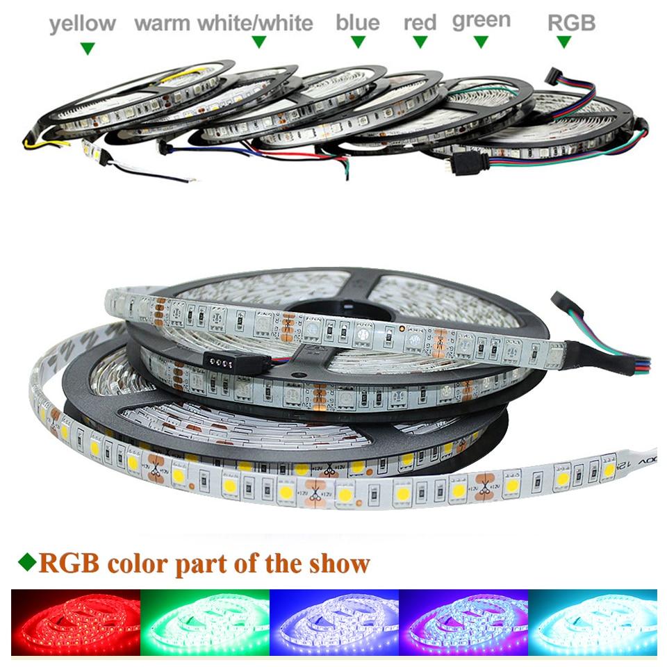 IP65 IP60 LED Strip Light 5050 12V Flexible Tape 60leds/m RGB White Warm White Red Green Blue Yellow Color 5m/roll Bright LED