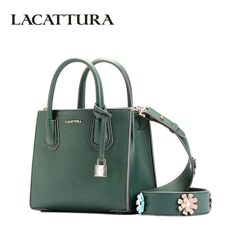 LACATTURA Luxury Women Handbag Fashion Lock Totes leather Messenger Bag Designer Flower Strap Shoulder Bags Crossbody for Lady women bag fashion casual totes bag 2 sets for girls pu leather handbag designer women s shoulder messenger bags lady bucket bag