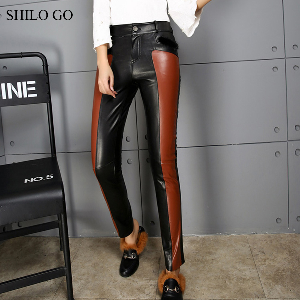 SHILO ALLER pantalon en cuir Femmes Automne De Mode en peau de mouton véritable pantalon en cuir taille haute unique poitrine chaude crayon de couleur pantalon