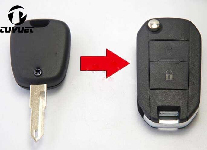 Gewijzigd Vervanging Shell Folding Flip Remote Key Case 2 Btn Voor Peugeot 206 205 405 106 Keyless Entry Afstandsbediening Fob