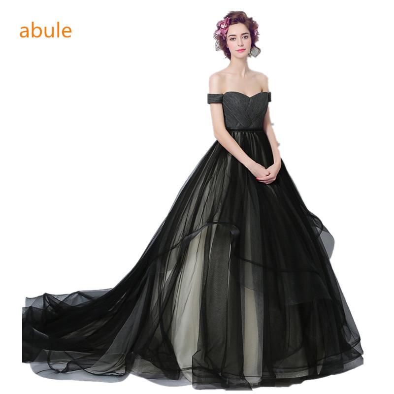 abule 2017 black wedding dress ball gown sweetheart lace up princess beautiful court train sexy