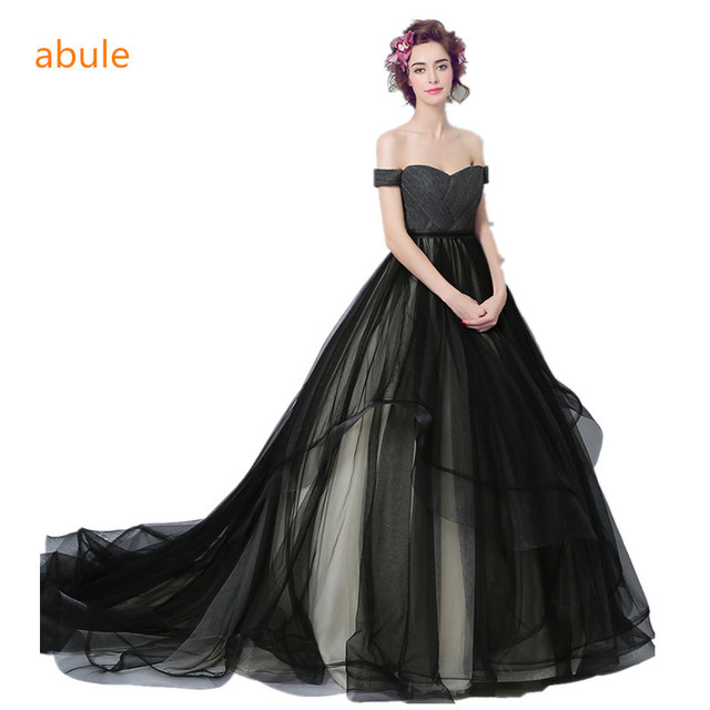 Abule 2018 Black Wedding Dress Ball Gown Sweetheart Lace Up Princess Beautiful Court Train Y