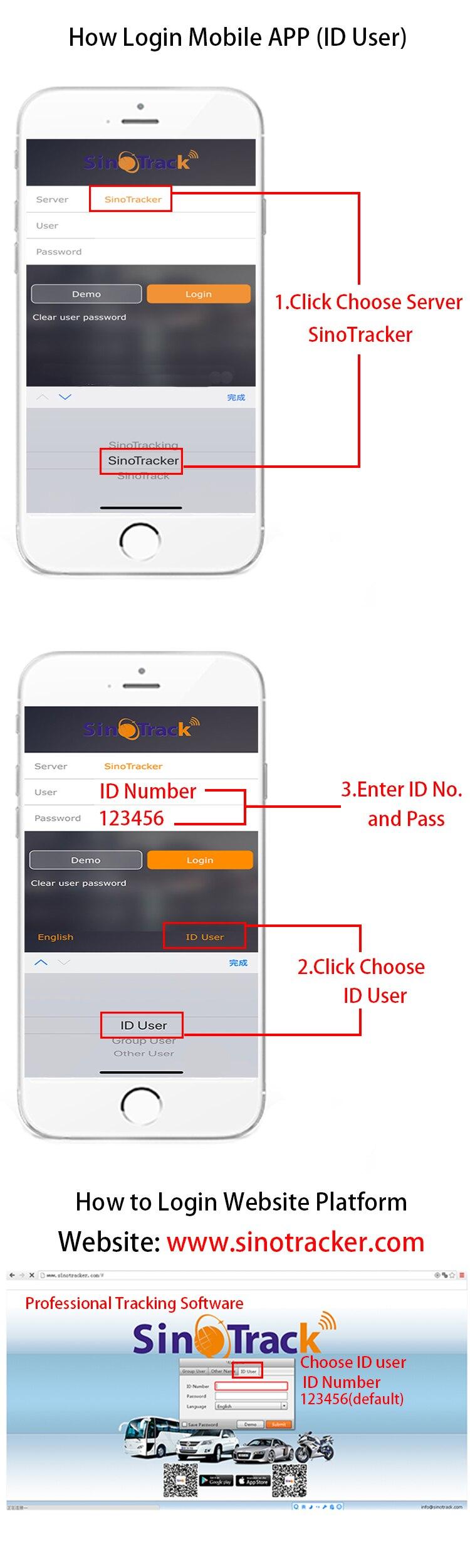 how to login sinotracker