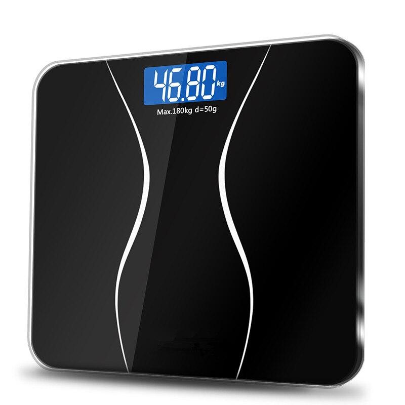 A2 Balance de corps de plancher de salle de bains en verre Smart ménage électronique Balance de poids numérique affichage bariatrique LCD 180 KG/50G