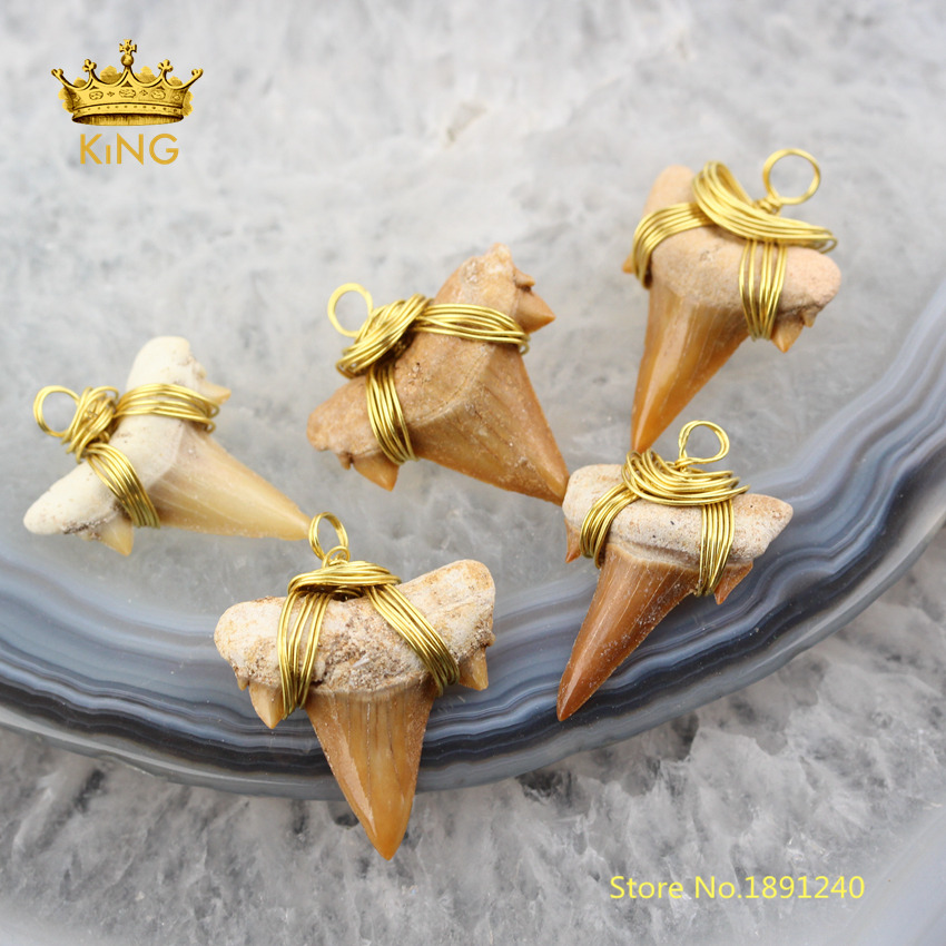 3-10pcs Shark Tooth Wire Wrapped Gold Copper Charms Jewelry,Shark Fashion Pendants Beading Necklace Supplies Wholesale