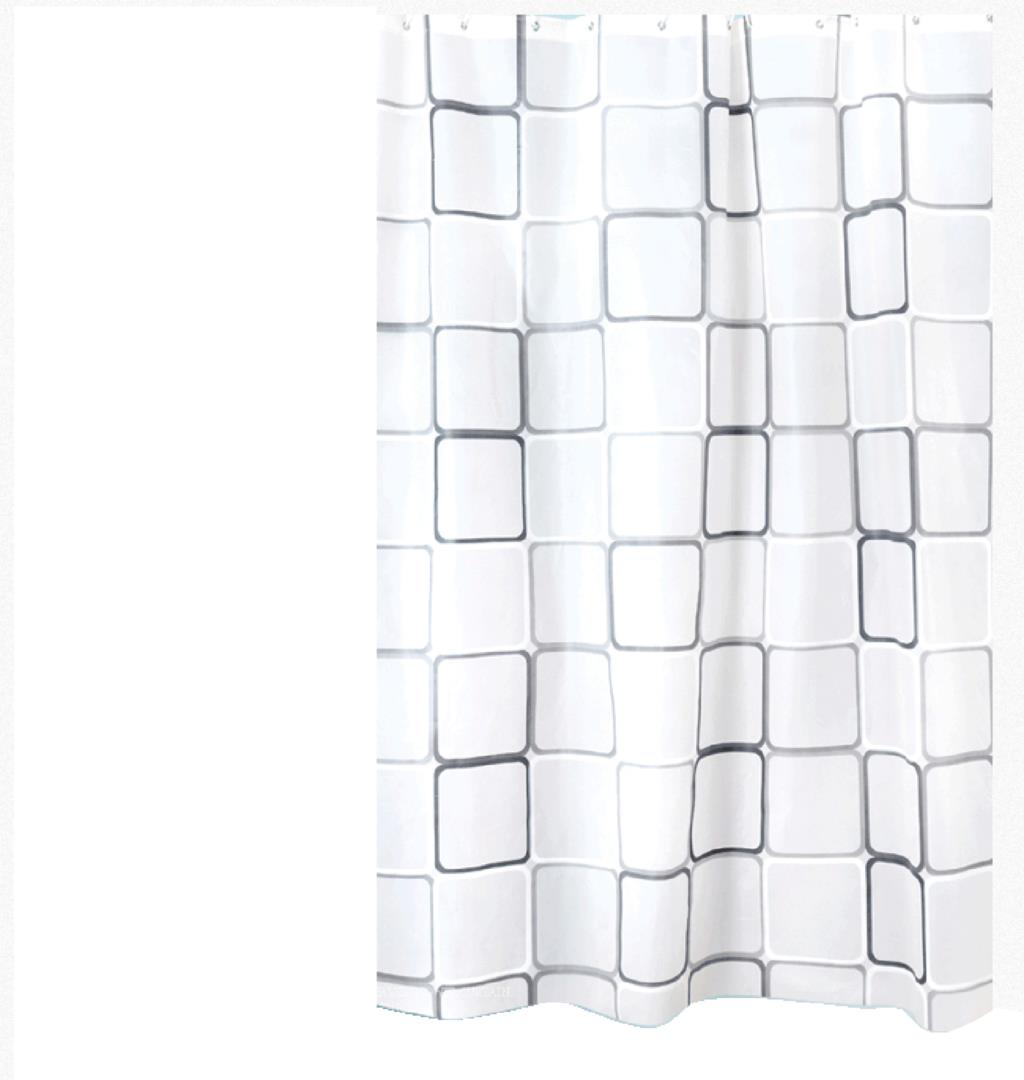 Bathroom plastic curtains - Curtains Plastic Shower Curtain With 12 Hooks Black White Grid Print Waterproof Blinds For Bathroom 2