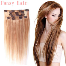 Remy Human Virgin Hair Straight Hairpieces Wigs Clip in Human Hair Extensions Full Head 15inch 18inch 20inch 22inch 27#/613#