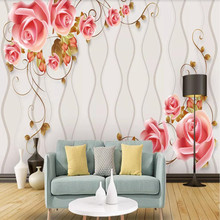 Factory direct modern minimalist curve beautiful rose vine art bedroom, living room, TV background wall
