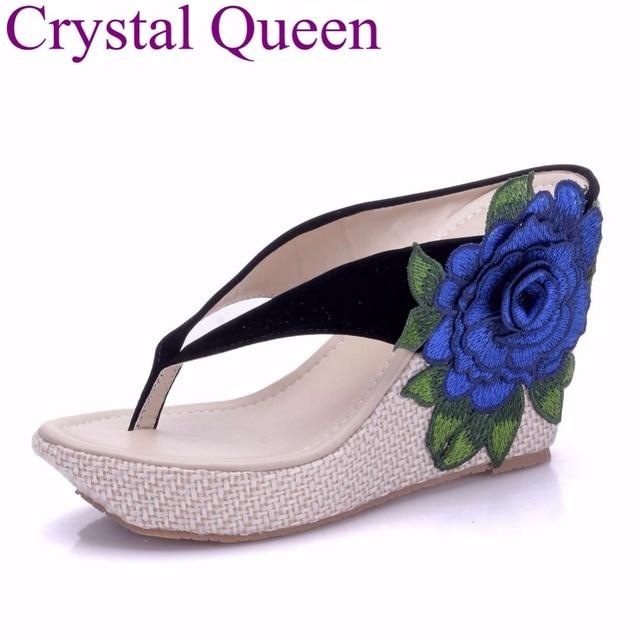 4c1f0e0df1d8d9 Crystal Queen Summer Flower Platform Wedges 2018 Summer Sandals Women  Wedges Heels Flip Flops Beach Sandals Flower Flip Flop