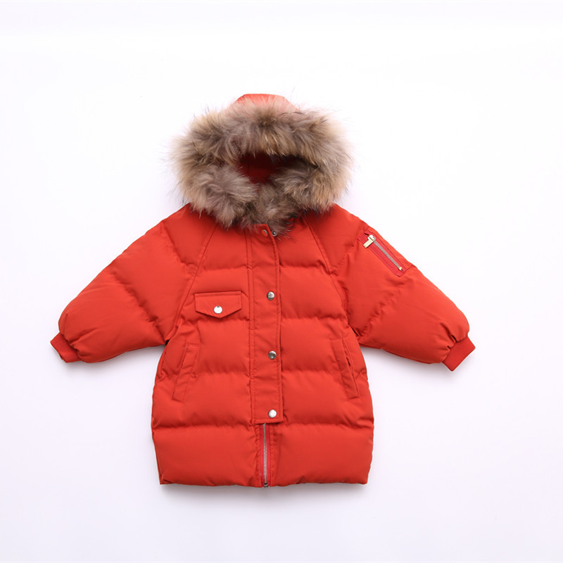 Boys&Girls Parka Jackets Medium Long Children's Winter Coat Real Fur Collar Hooded Thick Warm Cotton Padded Jacket BC344 new pattern winter jacket men cotton padded loose coat long down thickening cotton oversize parka casual warm outwear