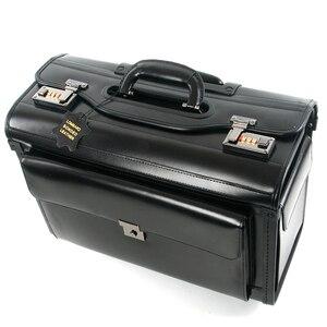 Image 1 - חדש רטרו אמיתי עור טייס מתגלגל מזוודות בקתה חברת תעופה דיילת נסיעות תיק על גלגלים עסקים עגלת מזוודות hangbag