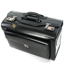 Equipaje de piloto de cuero auténtico Retro Para Azafata, bolsa de viaje con ruedas, equipaje de negocios, maletas
