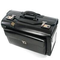 Neue Retro Echtem Leder pilot Roll Gepäck Kabine Airline stewardess Reisetasche auf Rädern Business Trolley Koffer hangbag