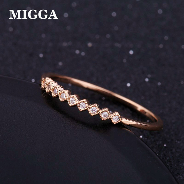 MIGGA Elegant Mini Cubic Zirconia Ring Rose/White Gold Color CZ Crystal Midi Rin