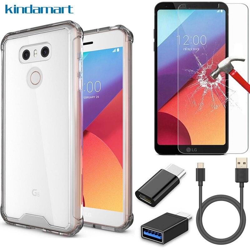 imágenes para 5in1 kit para LG caso G6 templado de vidrio Tipo C cable USB OTG adaptador híbrido claro duro caso para LG cubierta de protección de choque G6 2017