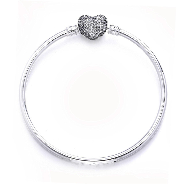 73681eb303d07 US $20.29 |Quality Pave Love Heart With Crystal Clasp pandora Bracelet Fit  Women Bead Charm 925 Sterling Silver Bangle DIY Jewelry-in Bangles from ...