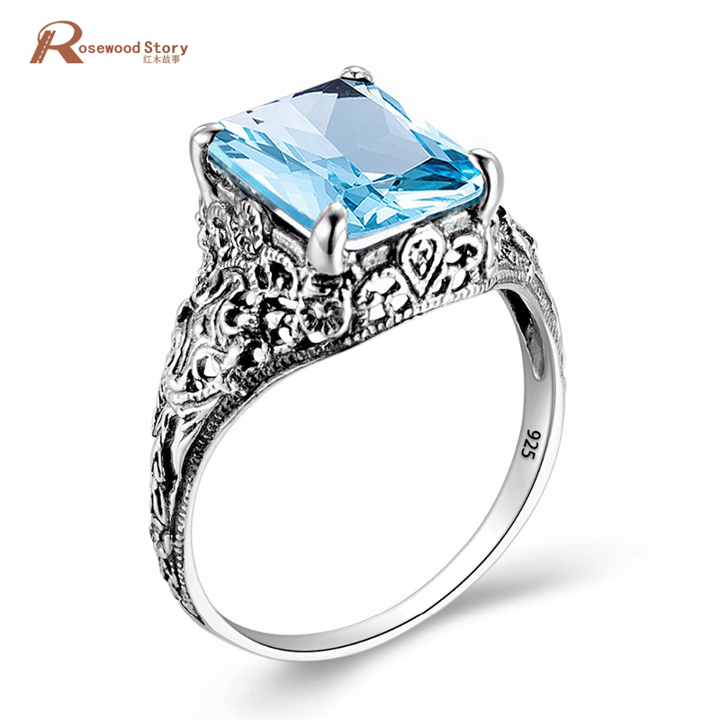 Fashion Genuine Austria Crystal Rings Luxury Classic Blue Stone Real 925 Sterling Silver Ring Square CZ Vintage Women Jewelry