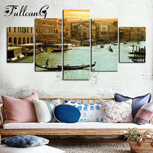 FULLCANG 5d diy full square/round drill diamond painting 5 panel seaside town mazayka embroidery scenery art kit decor FC902