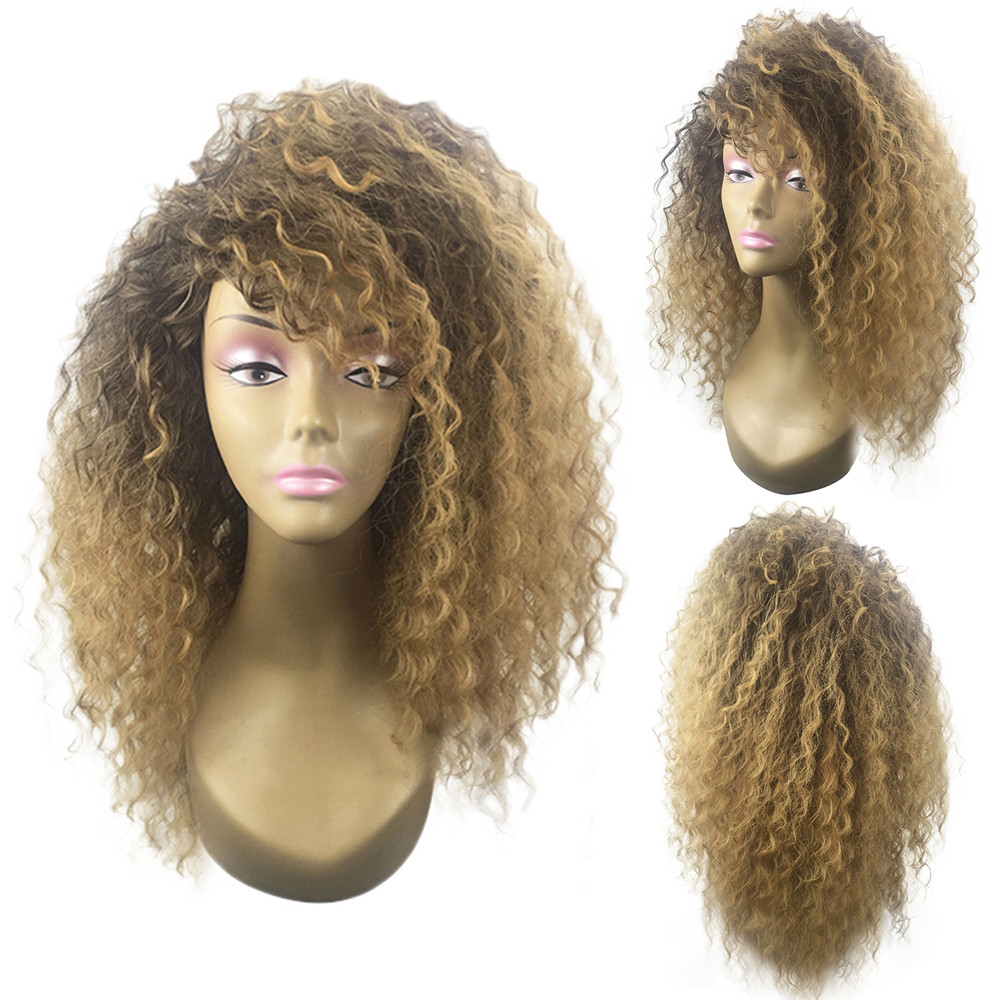 Hair Care Wig Stands Blonde Kinky Curly Wig Afro American Wigs Soft Synthetic Wig for Fashion Women 60cm Drop shipping July25 fashion short boutique side bang curly chestnut brown synthetic capless wig for women