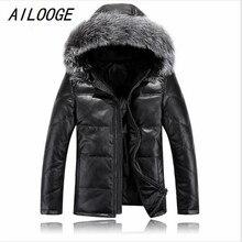 AILOOGE 2017 Herren Lederjacke Fell Kapuze Gute Qualität Männlichen Herbst Daunenjacke Winter Outwear Größe M L XL XXL XXXL 4XL