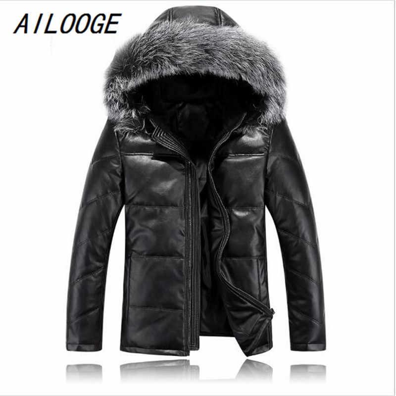 AILOOGE мужские кожаные куртки с меховым капюшоном хорошего качества Мужской осенний пуховик зимняя верхняя одежда Размер M L XL XXL XXXL 4XL
