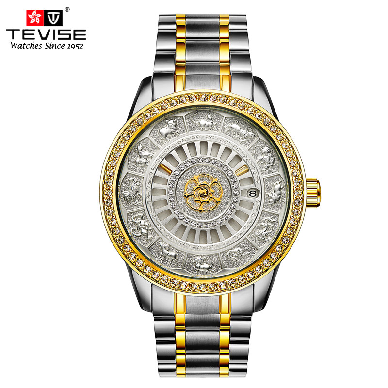 Tevise Men Automatic Self-Wind Gola Stainless Steel Watches Luxury 12 Symbolic Animals Dial Mechanical Date Wristwatches9055GTevise Men Automatic Self-Wind Gola Stainless Steel Watches Luxury 12 Symbolic Animals Dial Mechanical Date Wristwatches9055G