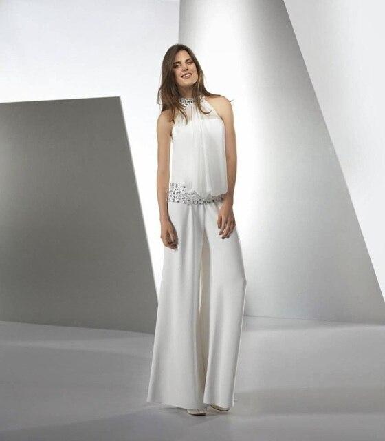 Customized Size Satin Tulle Bride Jumpsuit Wedding with Beading High Collar  Floor Length Casual Bridal Wear vestido de noiva 5702971540d5