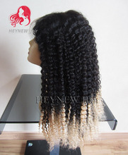 1b/613 black and blonde ombre u part wig kinky curly vir-gin hu-man hair lace front wigs with baby hair for black women