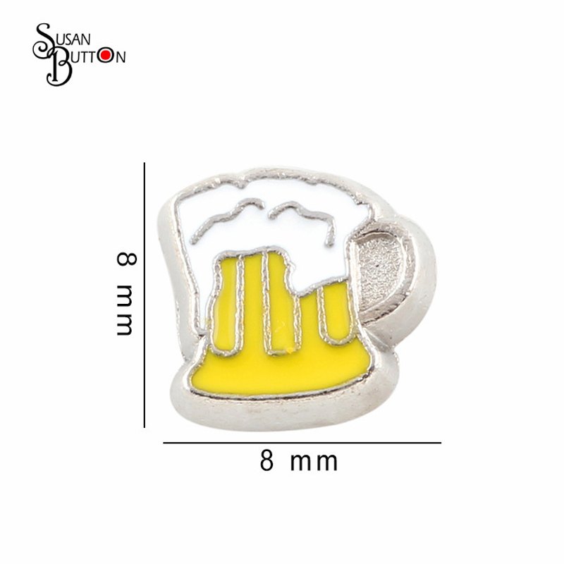 20pcs/lot Wholesale Zinc Alloy Diy Charms Enamel Beer Mug Floating Locket Charms for Floating Living Memory Locket JFC2199