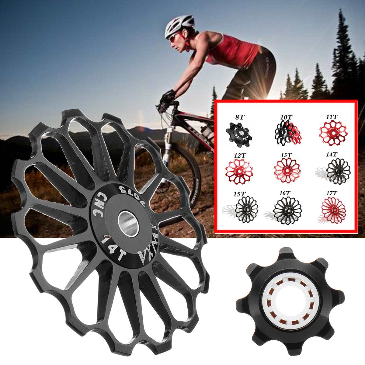 Bicycle 16T 14T 15T 17T Jockey Wheel Pulley MTB Bike Rear Derailleur Bearing CNC