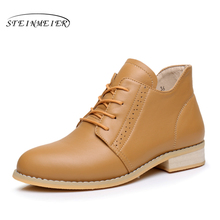 100% Genuine cow Leather women Ankle winter flats Boots Comfortable quality soft Shoes Brand Designer Handmade with fur black