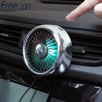 Elektrische Auto Fan 3 Geschwindigkeit Einstellung USB Dual Kopf Auto Auto Kühlung Air Zirkulator Fan Klimaanlage mit Bunten Licht für Va