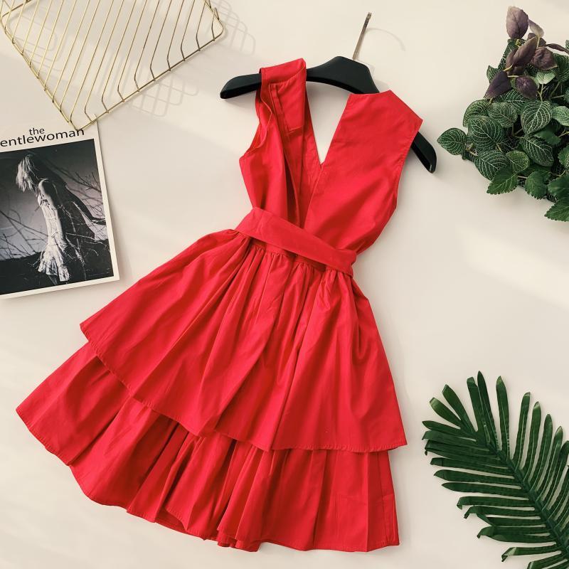 Korean Vintage Pure V Collar Sleeveless High Waist Bow Tie Double Ruffle Holiday Dress Women Vestidos E348 70