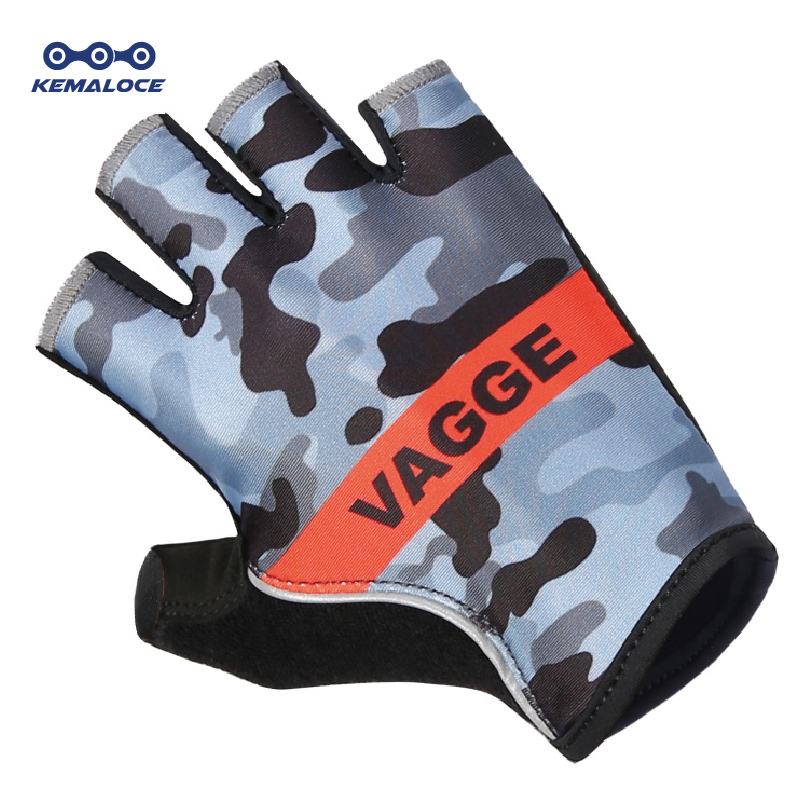 Venta caliente Camuflaje Intermitente Racing Ciclismo Guantes Almohadilla de Gel Lycra Pro Team Bicicleta Manopla Estilo Popular Knit Summer Bike Glove