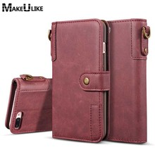 hot deal buy makeulike strap wallet case for iphone 8 8 plus flip cover pu leather fashion phone bags cases for apple iphone 7 7 plus pouch