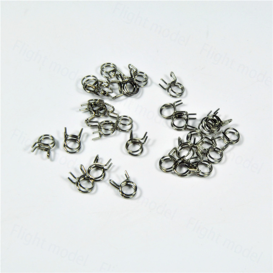 10pcs Fuel Line Oil Air Tube Clamp Hose Spring Clip Fastener 5mm For RC Fuel Model Accessories lot 10 fit 105 127mm od hose 201 stainless steel hose hoop ring hose clamp ring for fuel line wrom cliper