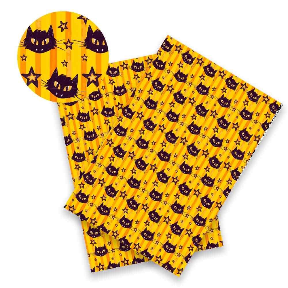 Xugar 22cm * 30cm Halloween skóra syntetyczna Faux festiwal tkanina ze skóry syntetycznej duch dynia DIY Knotbow rzemiosło materiały