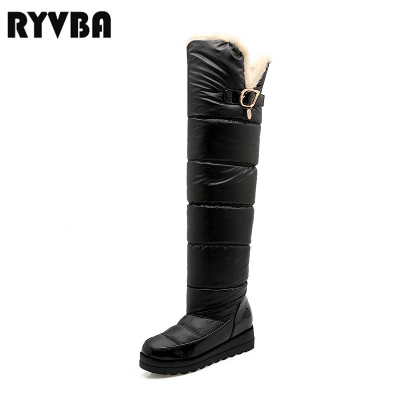 RYVBA womens winter over the knee snow boots women faux fur thick plush warm shoes woman thigh high boots ladies round toe flats