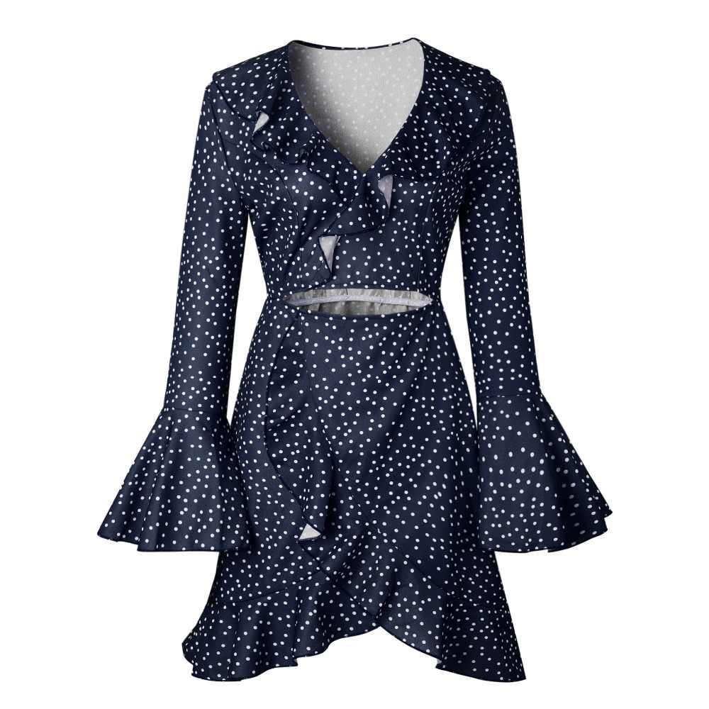 Vadim Hot Sale Polyester Cotton Full Dress Women Ukraine New Products Women Free Shipping 2019 Spring And Sexy Wave Point Dress