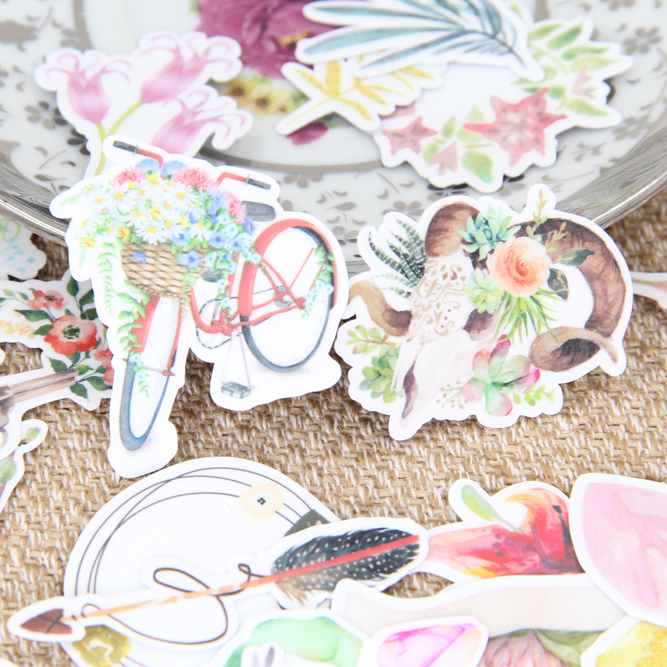 っ34pcs self-made beautiful flower plants scrapbooking stickers