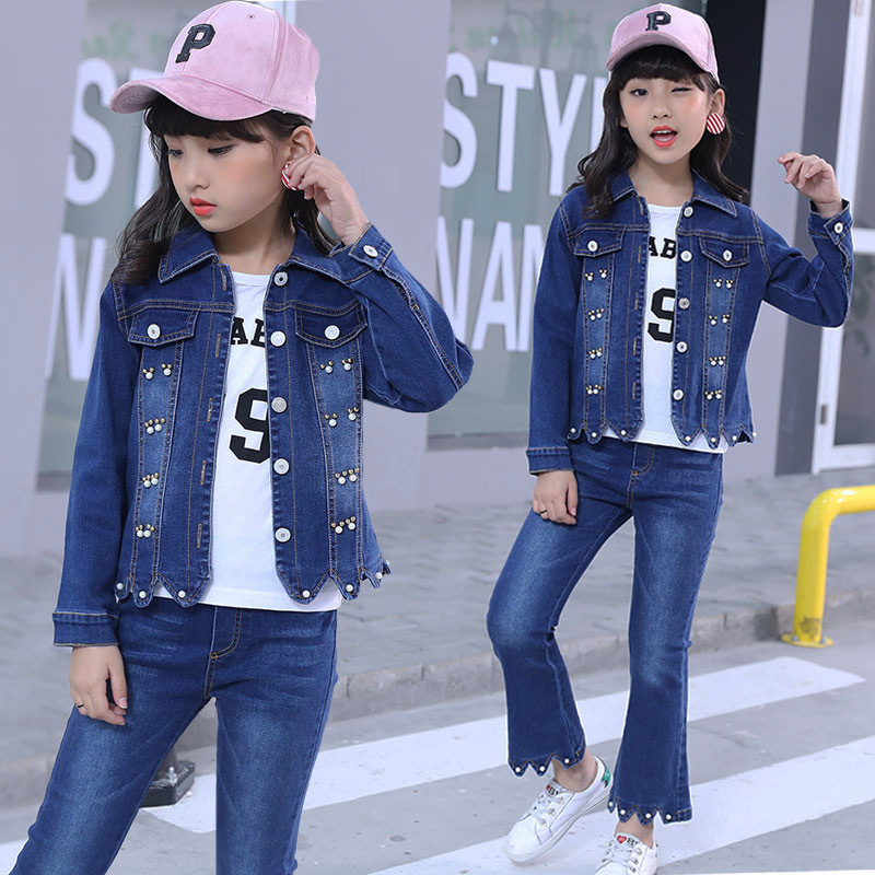 Spring Suits Kids Clothes Set 2Pcs Girl Denim Sets Denim Jacket for girl Coat + Jeans Pants two pieces set Pearl Cowboy Coat 12Y men s cowboy jeans fashion blue jeans pant men plus sizes regular slim fit denim jean pants male high quality brand jeans