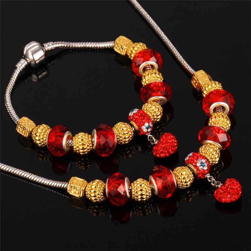 U7 DIY ожерелье из бисера Новый Золотой/Серебряный цвет Красные кристаллы стразы Европейское Ожерелье Браслет Ювелирный Набор S595