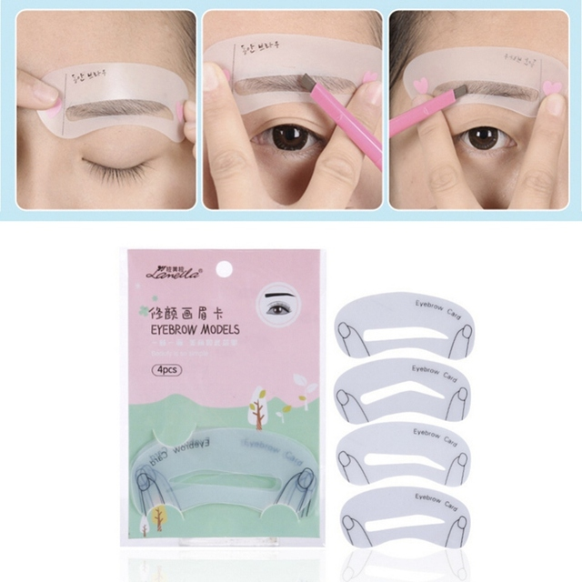 Hot! 4Pcs Eyebrow shaping eyebrow card artifact card thrush thrush aids Beauty tools Makeup Beauty eyebrow Tools 3
