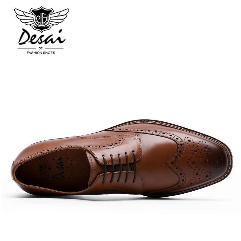 DESAI Novas Chegadas Dos Homens de Negócios Vestir Sapatos de Couro Genuíno Sapatos Cavalheiro Formal Boi Esculpida Sapatos Brock Retro Homens DSA002