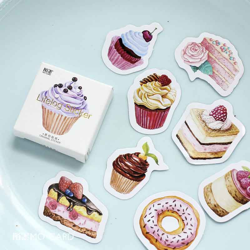 45 Pcs/box Pastry Cake DIY Post it Scrapbooking Diary Sticker Planner Decorations Album Stick Label School Stationery