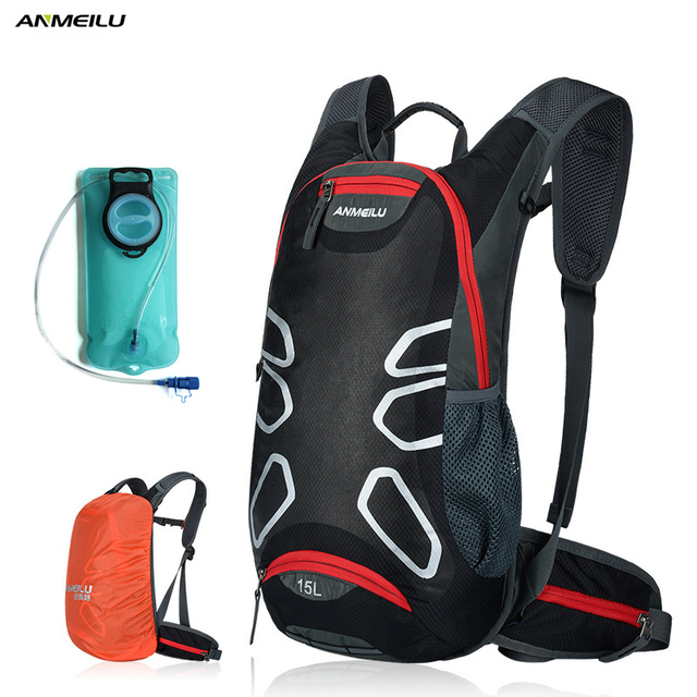 ANMEILU 15L Waterproof Camping Backpack With Rain Cover 2L Water Bag Outdoor Sports Bag Bike Cycling Hiking Climbing Backpack