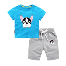 Summer fashion new baby sports suit children boys and girls set cotton cartoon puppy two-piece childrens clothing
