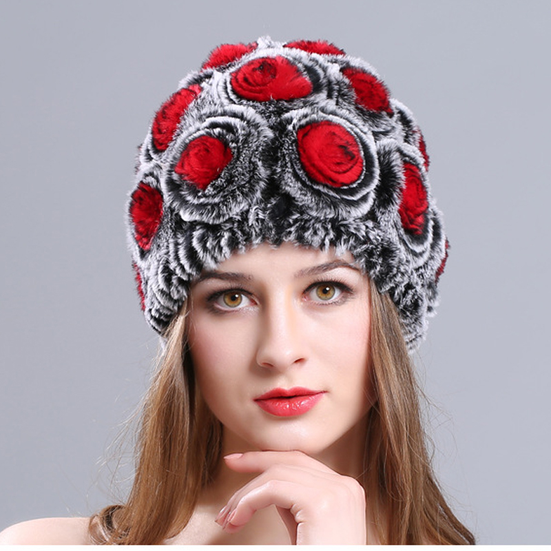 2018 new lady flower shape mountaineering hat outdoor sports ski warm equipment wind and cold autumn and winter protection ears